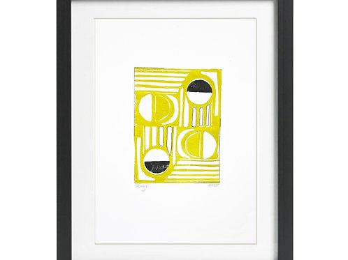 'Duo Rays' A3  Lino Print