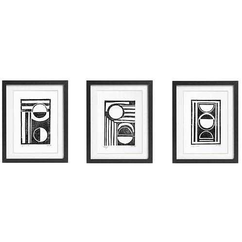 Set of 3 A5 Monochrome Lino prints