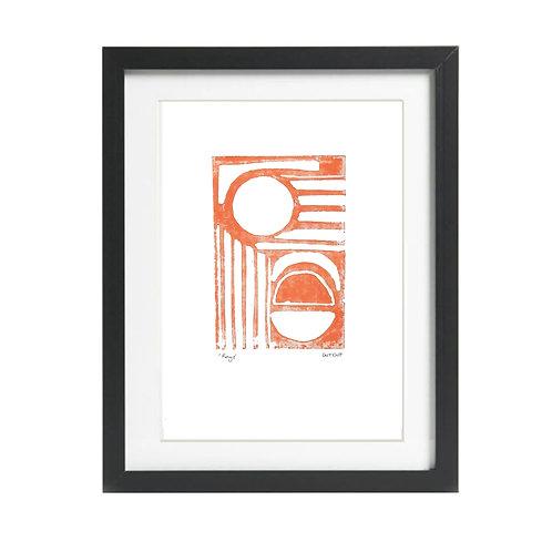Rays A4 Burnt Orange Lino Print