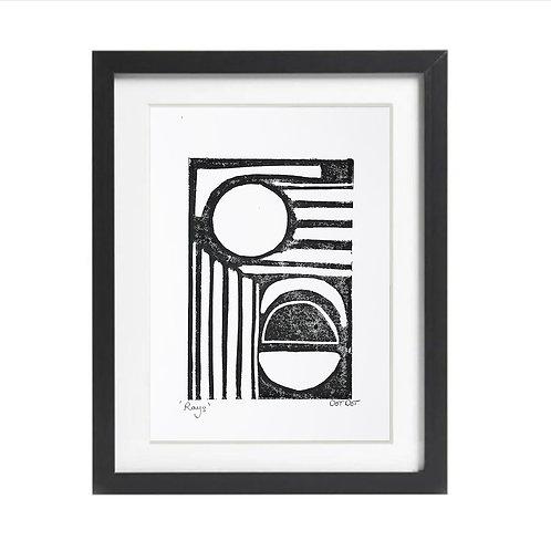 'Rays' A5 Lino print