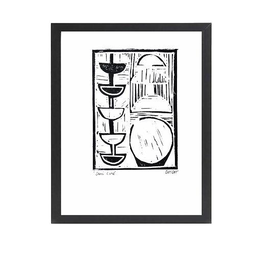 'Semi Line' A4 Monochrome Lino Print