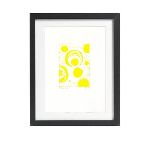 Blackhole A4  Lino Print in Yellow