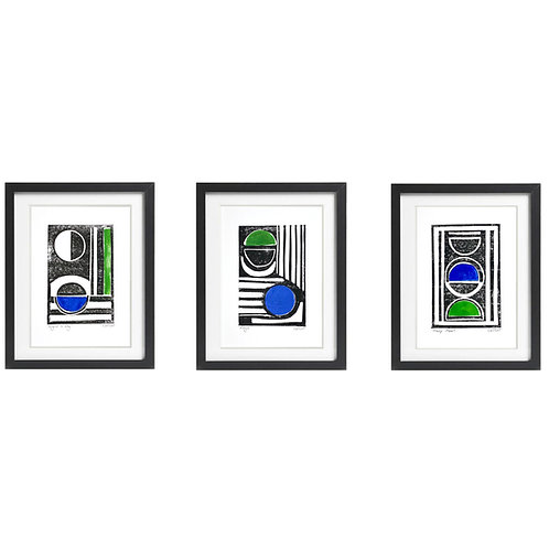 Personalised set of 3 A5 original Monochrome Lino Prints with a pop of colour.