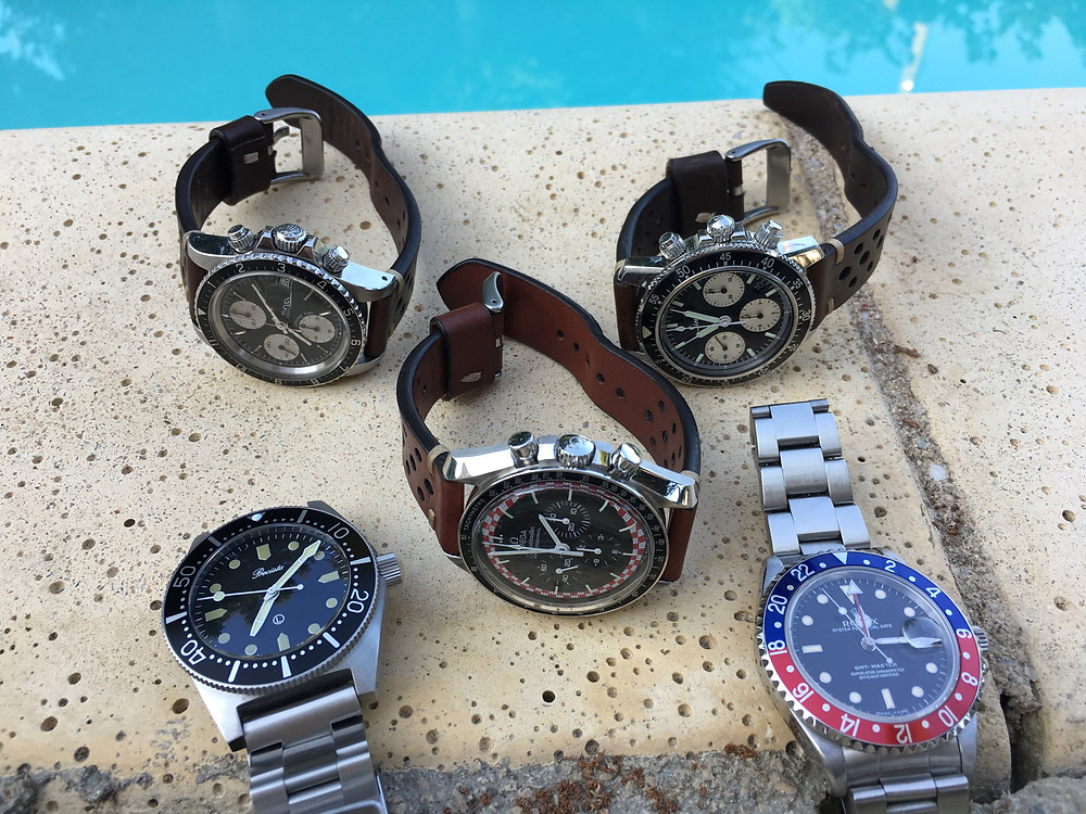 A bunch of summer watches; Tudor Big Block, Sinn 103 Classic, Speedmaster TinTin, Rolex GMT, Precista PRS-82