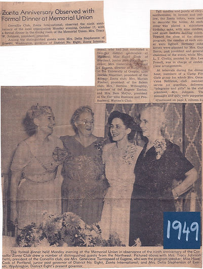 1949. Aritcle on 9th Anniv, Mrs. Tracy (