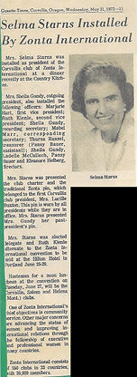 1972 article, Installation, Selma Starns