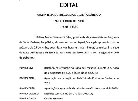 Assembleia de Freguesia 26/06/2020