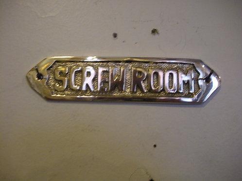 Nautical Brass SCREW ROOM plaque - Brass Item