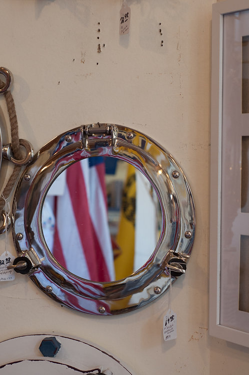"12"" Nickel Porthole Mirror - Portholes"