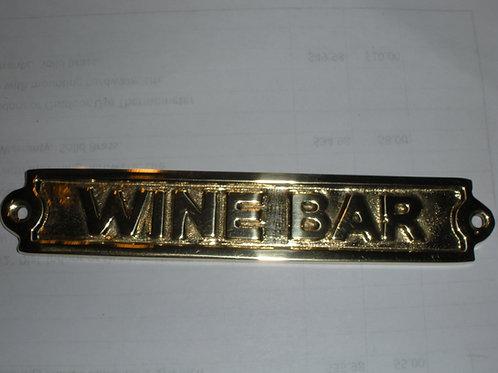 Brass WINE BAR Plaque - Brass Items