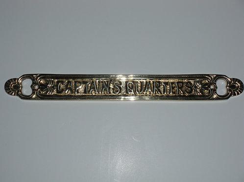 Nautical CAPTAIN'S QUARTERS Plaque - Brass Item