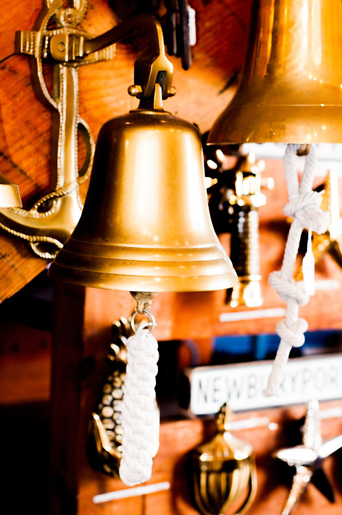 """7.5"""" Hanging Bell with Anchor Mount - Brass"""