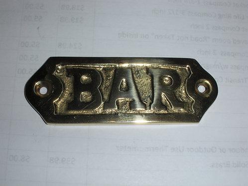 Brass BAR Plaque - Brass Items