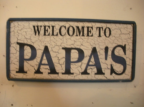Welcome to Papa's (Blue) - Wooden Signs