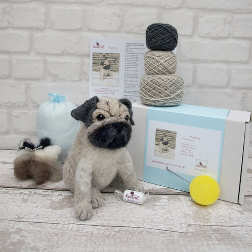 Pugsley Pug Knitting and Felting Kit