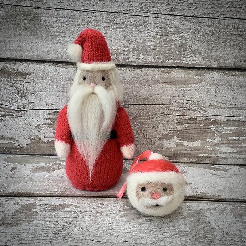 Father Christmas figure + bauble Knitting and Felting kit set