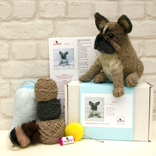 Pierre the French Bulldog Knitting and Felting Kit
