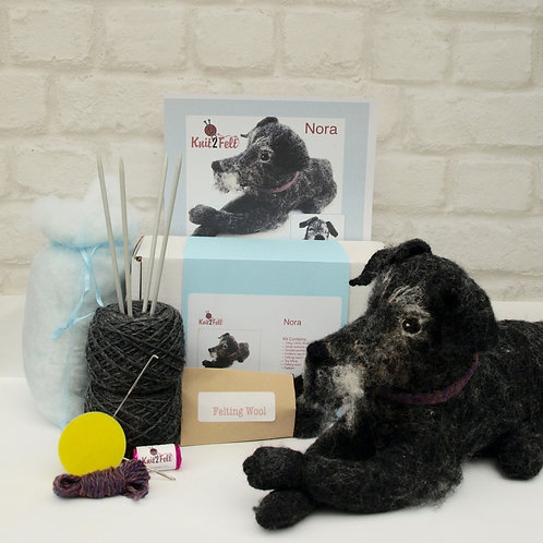 Nora (Patterdale Terrier) Knitting and Felting kit