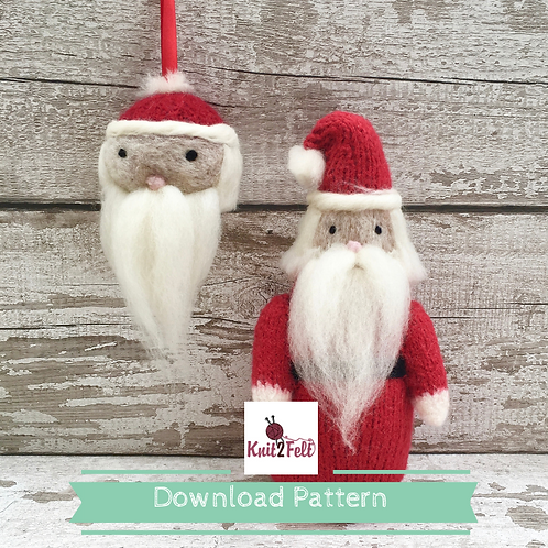 Father Christmas and bauble Digital Download pattern