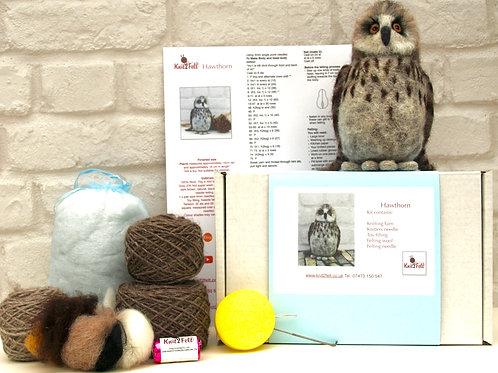 Hawthorn the Owl Knitting and Felting Kit