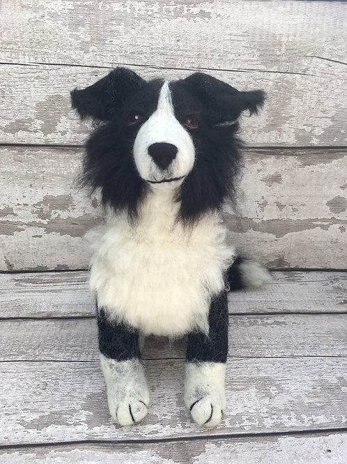 Douglas the collie, knitting and felting kit