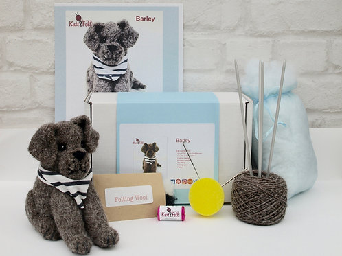 Barley the puppy Knitting and Felting kit