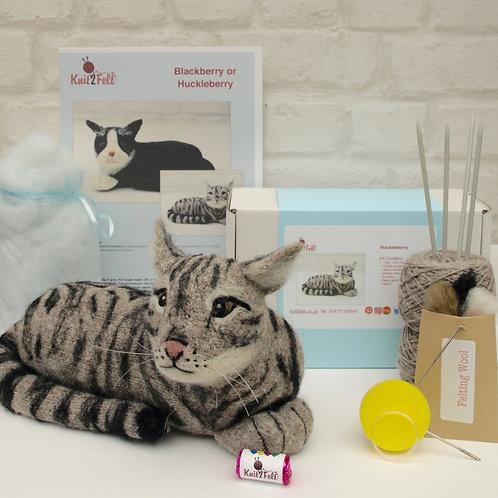 Huckleberry the Tabby Cat Knitting and Felting kit