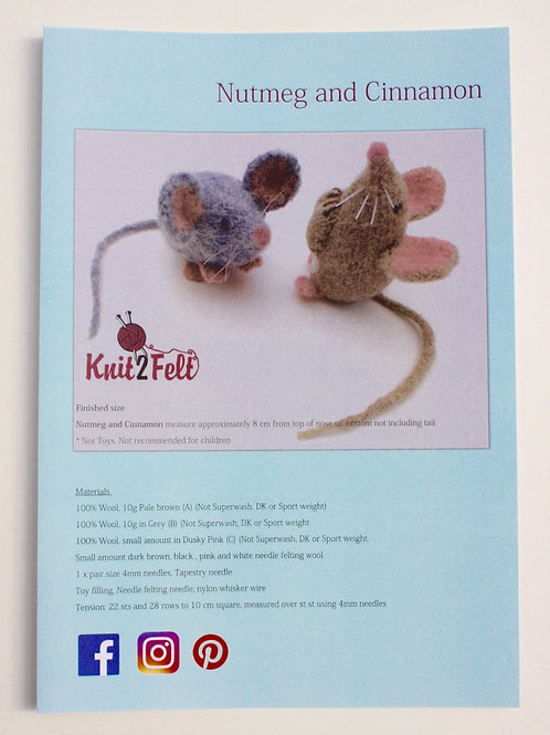 Nutmeg and Cinnamon Knitting and Felting Pattern