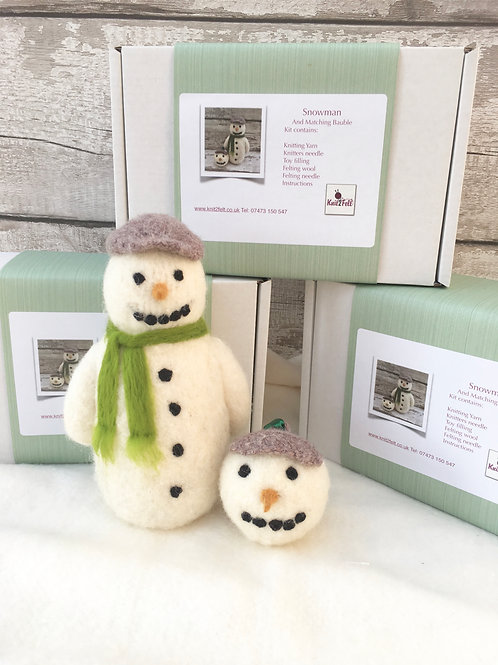 Snowman figure + bauble Knitting and Felting kit set