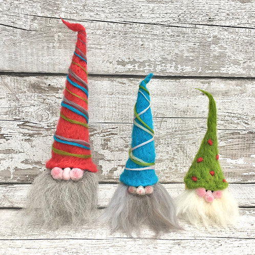 Three Festive Gnomes - Pebble Needle Felting kit