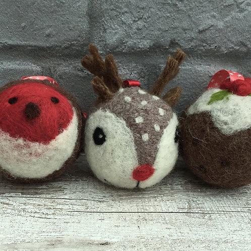 3 Baubles Knitting and Felting kit Set 2