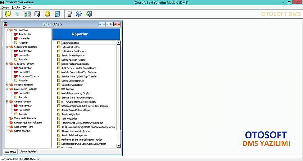 Otosoft DMS yazılımı DMS software bayi yönetim yazılımı
