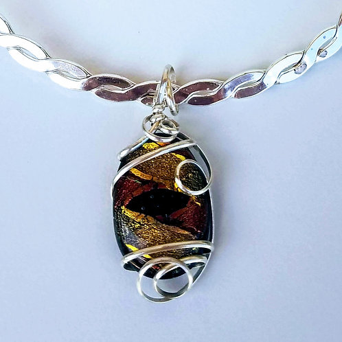 Silver Wire Wrapped Earth Tone Dichroic Glass Pendant
