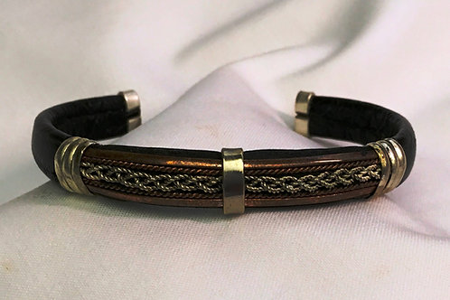 Leather Cuff with Copper & Sterling Braid
