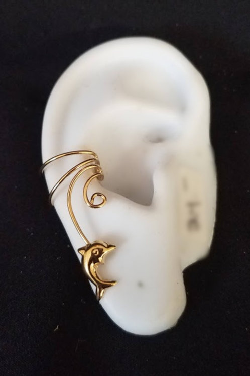 14K Ear Cuff with Dolphin
