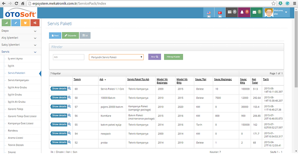 otosoft cloud web tabanlı servis yedek parça yazılım software