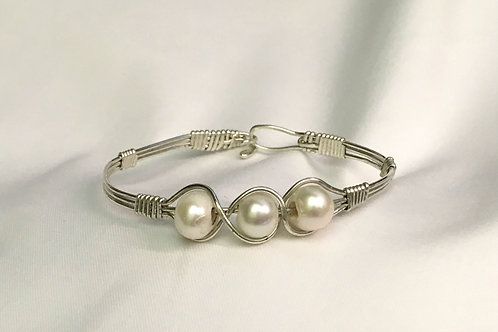 Sterling Silver Bracelet with Fresh Water Pearls