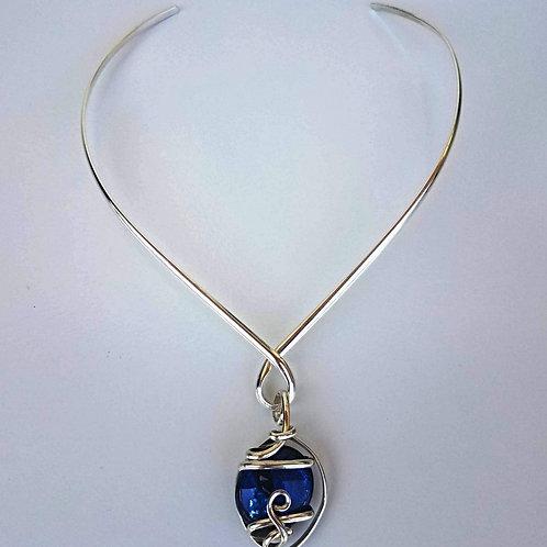 Silver V Shape, Single Loop Choker - Shown with Royal Blue Pendant
