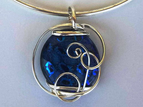 Dichroic Glass Pendant with Blue, Black & Purple Hues in Leopard Print