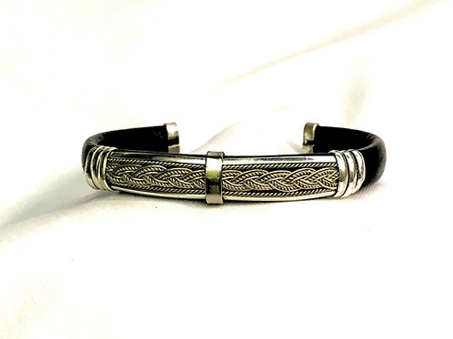 Leather Cuff with Sterling Silver Braid Design