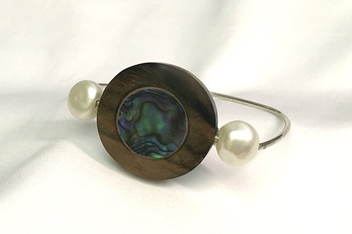 Sterling Silver Bracelet with Wood, Abalone and Pearls