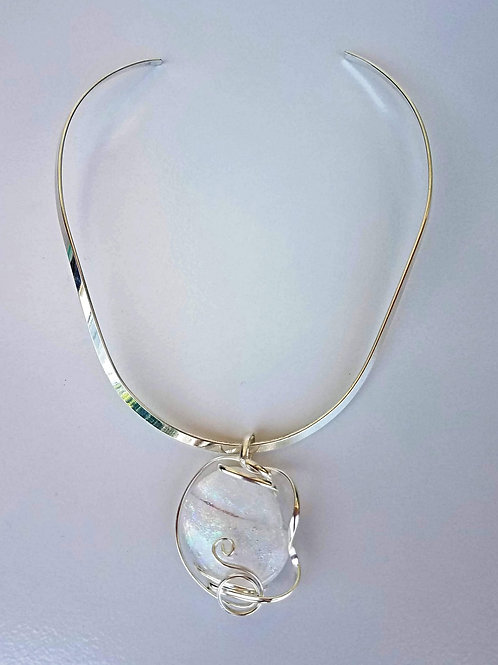 Ccurved Choker - Shown with White Luminescent Hued Pendant