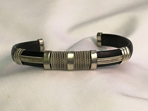 Leather Cuff with Sterling Twist & Smooth Design