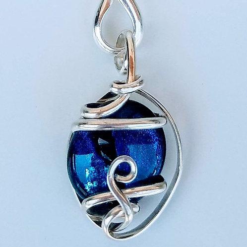 Royal Blue Dichroic Glass Pendant