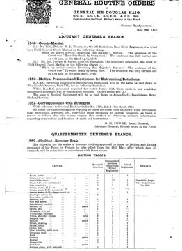 General Routine Orders May 3rd 1916