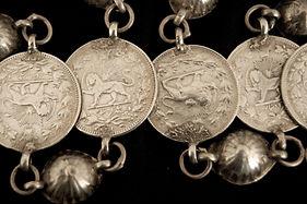 Coins on a Bakhtiari veil ornament, Iran