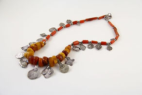 Necklace with amber and amulets, Morocco