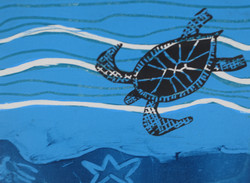 Mono print with a turtle block