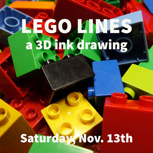Lego Lines, a 3D ink drawing - A Saturday Art Day Camp