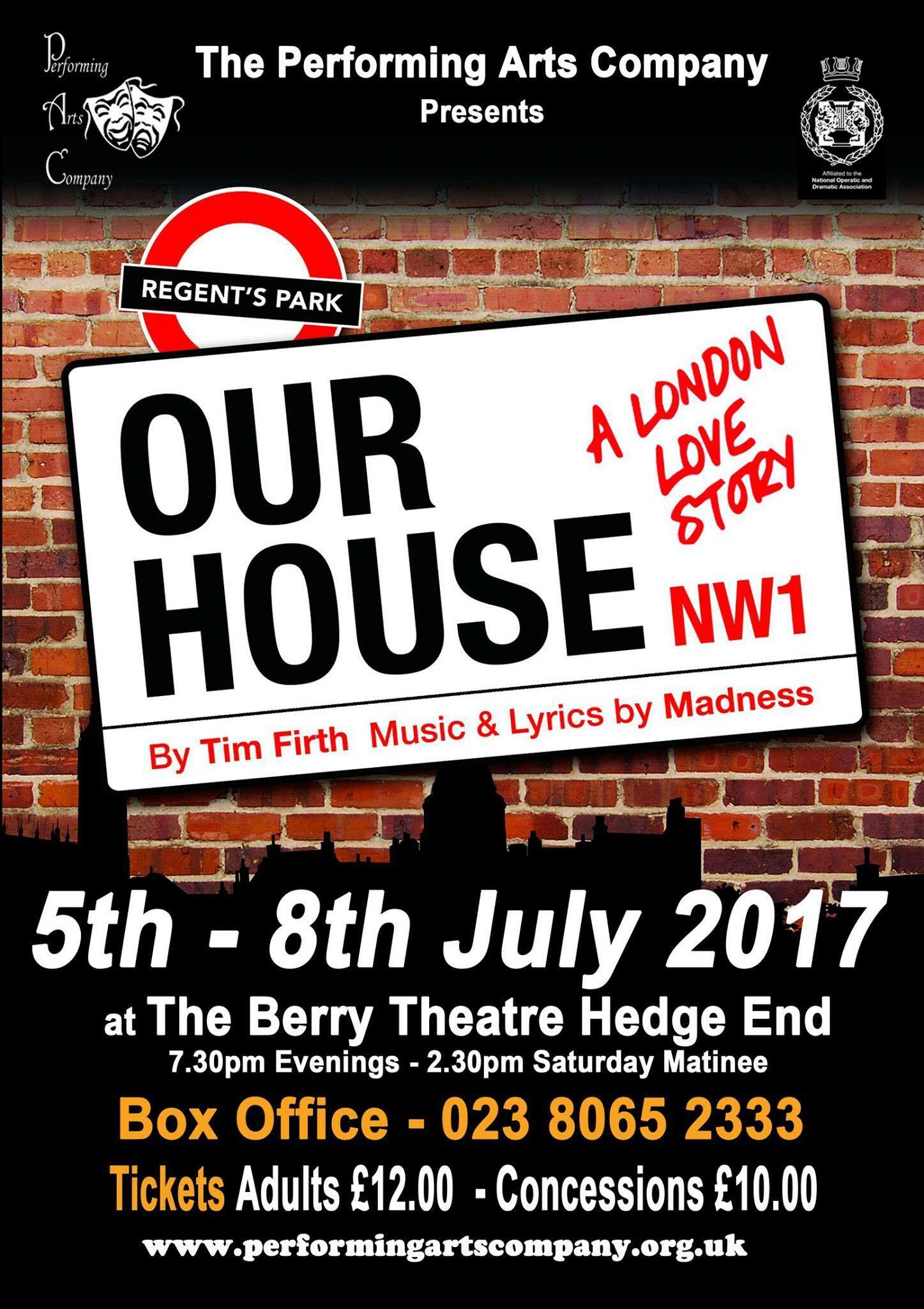 Our House The Performing Arts pany The Berry Theatre Hedge
